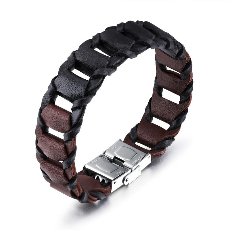 Fashion accessories cowhide bracelet vintage two-color bracelet male