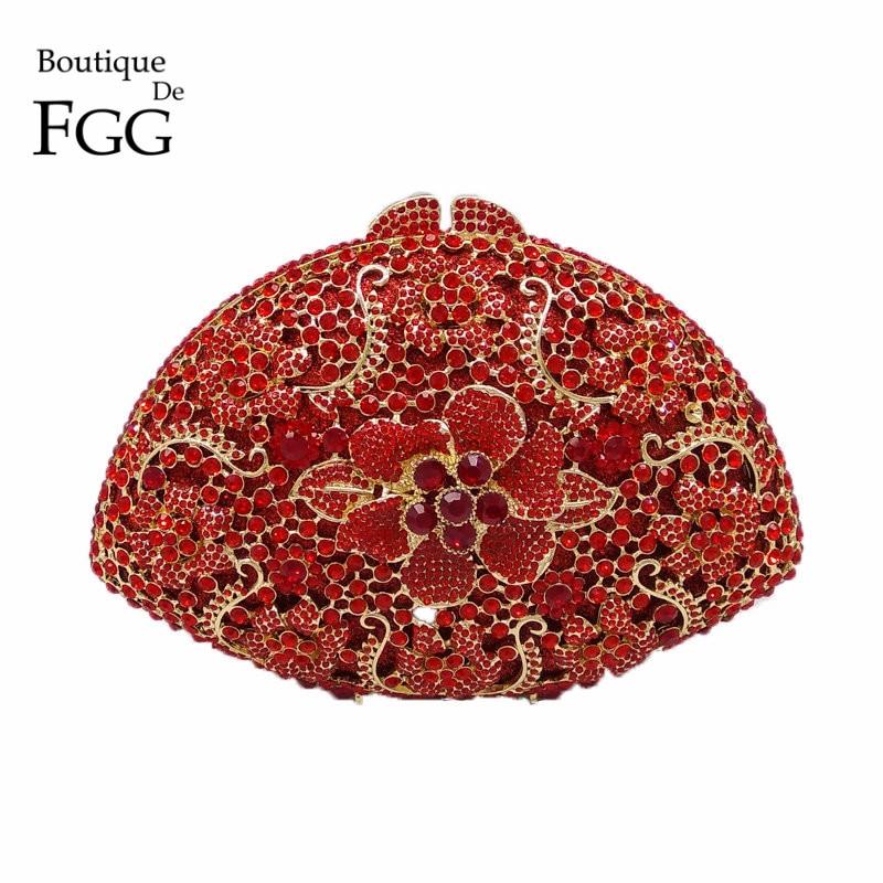 Elegant Red Women Flower Clutch Crystal Evening Party Bags Hollow Hard Case Wedding Clutches Purses Bridal Rhinestones Handbags