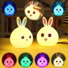 Cartoon rabbit silicone LED multicolor night light USB charging pat touch sensor bedroom child baby feeding bedside lamp