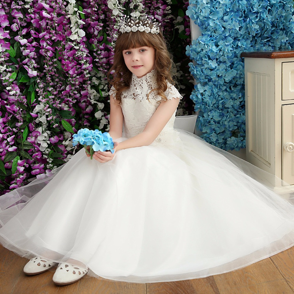 Puseky 2017 Girl Lace Dress With Sweet Flower For Age 3-7 Baby Kids Princess Wedding Prom Party White Big Bow Gauze Long Dress