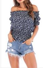 Fashion Women Ladies Summer Off Shoulder Floral print Blouse Tops Chiffon Puff Sleeve Shirt Loose Casual Blouse Tops Choker