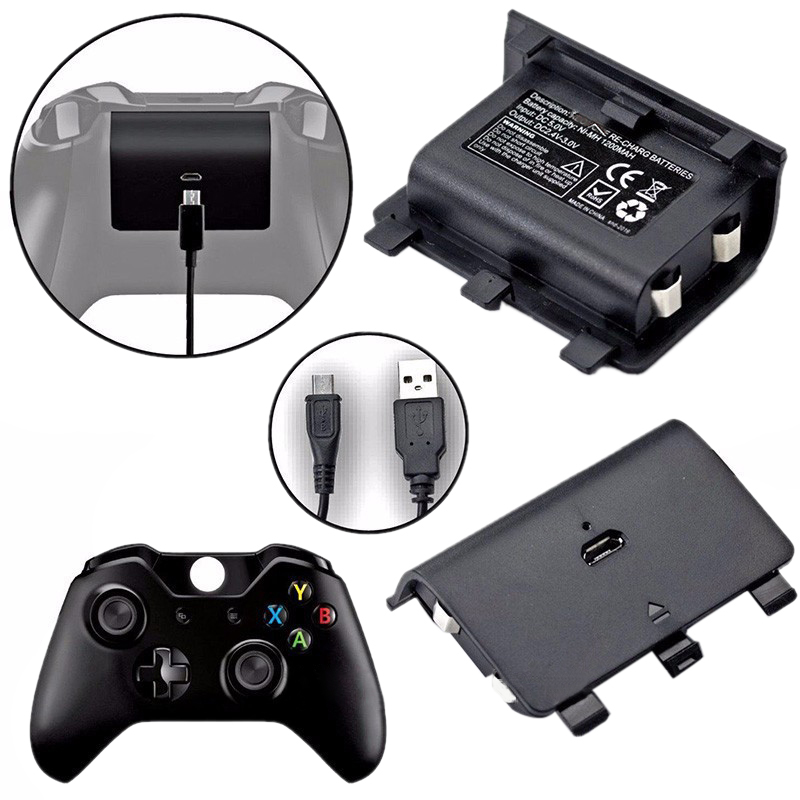 2x2400 mAh Batterien + USB Kabel Für XBOX ONE Controller Lade Kit Wireless Gamepad Joypad Aufladbare Backup-Batterie pack
