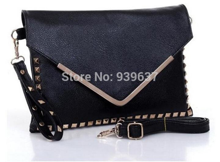 2014 New / tide female bag / vintage bag / punk / rivet v word / envelope bag, hand bag / free shipping