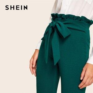 Image 5 - SHEIN Elegant Frill Trim Belted รายละเอียด Solid High เอวกางเกงเสื้อผ้าผู้หญิงแฟชั่นเอวยางยืดผอมกางเกงแครอท
