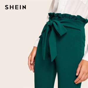 Image 5 - SHEIN Elegant Frill Trim Bow Belted Detail Solid High Waist Pants Women Clothing Fashion Elastic Waist Skinny Carrot Pants