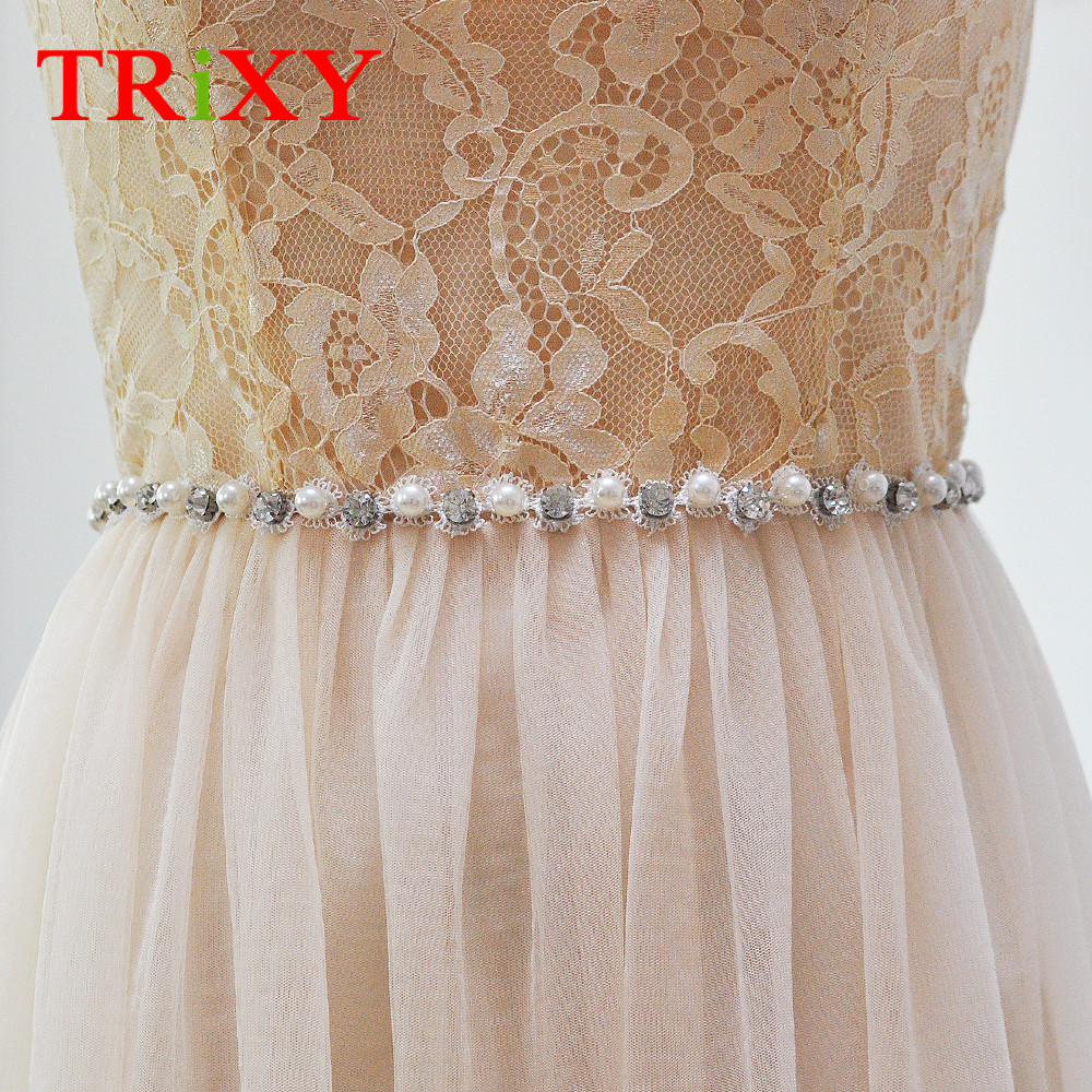 Bridal Blets Trixy S71 Rhinestones Pearl Thin Wedding Belts Wedding Sash Pearls Beaded Bridal Belts Sash Dress Belt Bridesmaid Belt Sashes