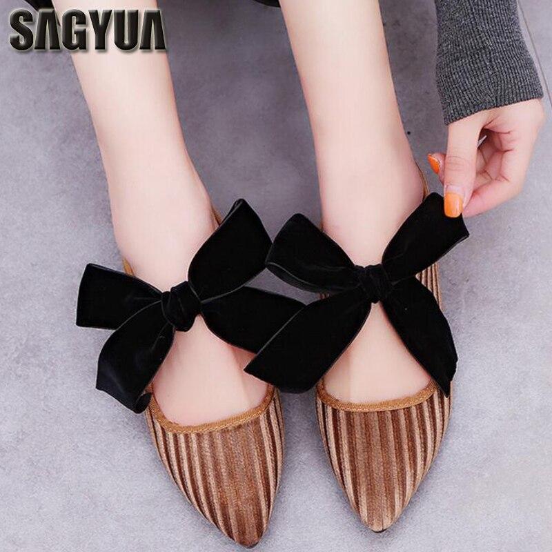 SAGYUA Mujer Women Fashion Casual Lady Beautiful Bowknot Female Pointed Toe Pleuche Flat Loafers Slip-On Thin Shoes Zapatos T105 цена