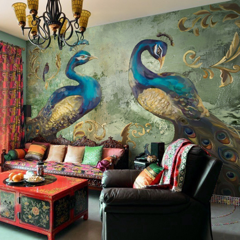European Style Classical Peacock Photo Mural Wallpaper Hotel Restaurant Interior Decor 3D Wallpaper Papel De Parede 3D Paisagem