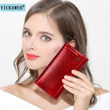 VICKAWEB Short Wallet Women Genuine Leather Wallet