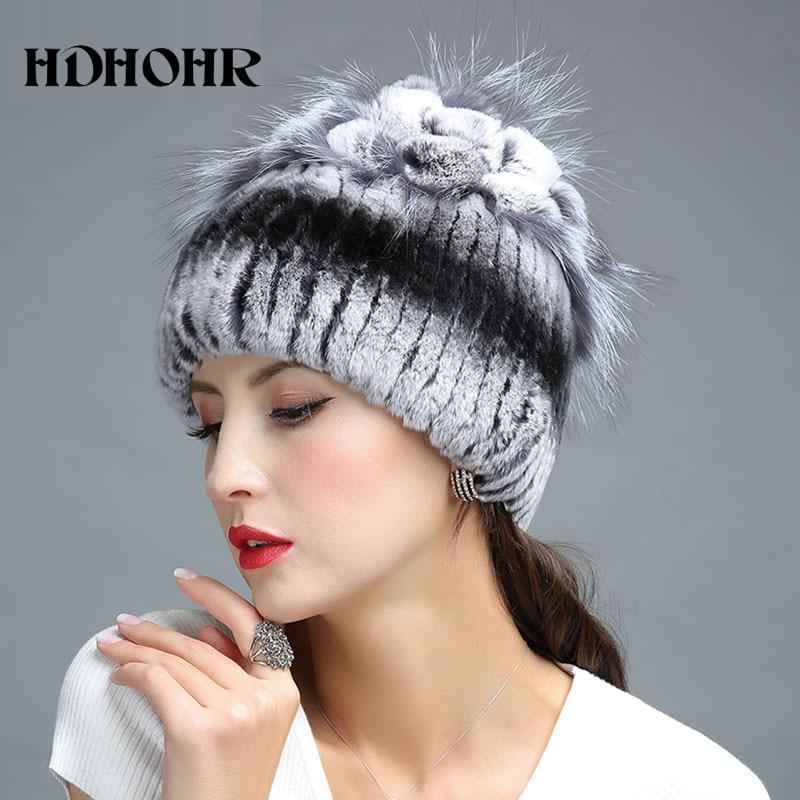 HDHOHR 2017 Winter Women Warm Genuine Fur Hats Rex Rabbit  Fur Caps - Apparel Accessories