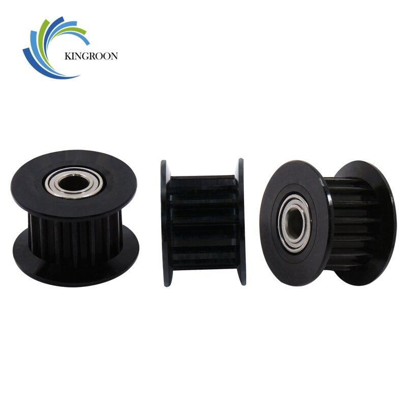 KINGROON 1PC Black GT2 Idler Pulley For 3D Printer Parts Aluminum 20 Teeth 16 Teeth 2GT Timing Pulley Bore 3mm 5mm Width Wheel 1