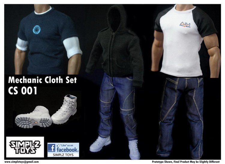 ФОТО 1/6 scale figure doll male clothes Mechanic Tony Suit for 12