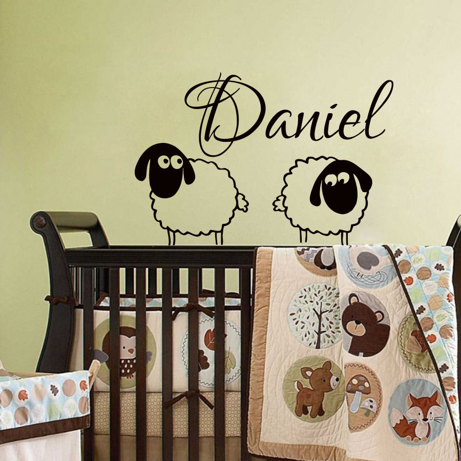 Nursery Name Wall Sticker For Kids Rooms Two Lovely Sheep Mutton With Personalized Name Wall Decal Boy Baby Bedroom Decor WW-42