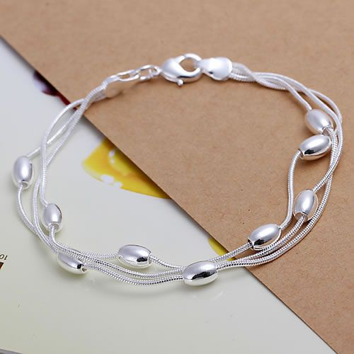 H236 925 silver bracelet, 925 silver fashion jewelry Three Line Gloss Ball Bracelet /azvajrca awjajnqa
