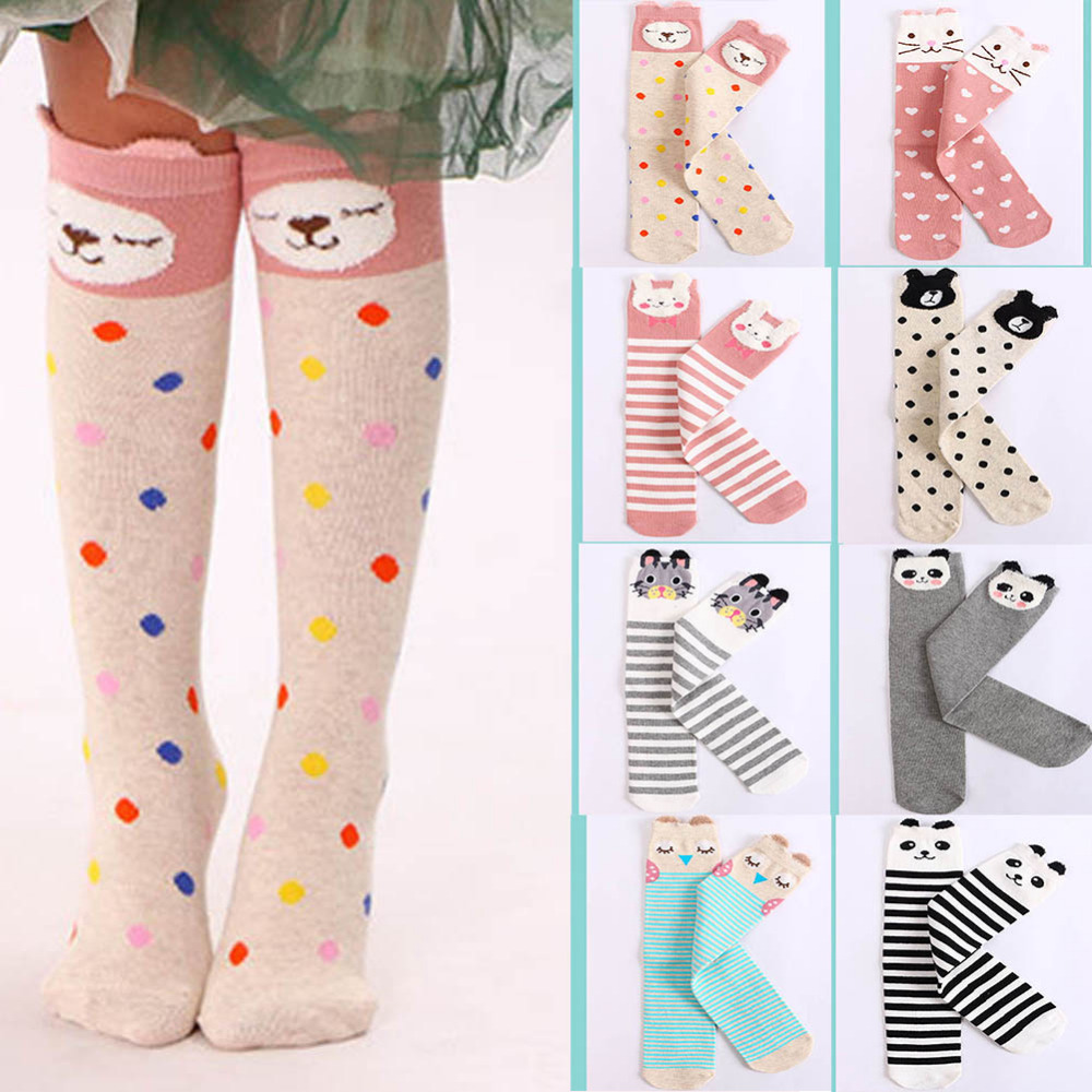 цена Toddlers Kids Girls Knee High Socks School Cotton Socks Striped baby Long Socks