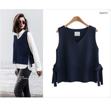 Autumn Sleeveless Cashmere Knitted Vest Women Split V-neck Lace Up Loose Korean Fashion Pullover Sweater Vest Winter Tank Top(China)