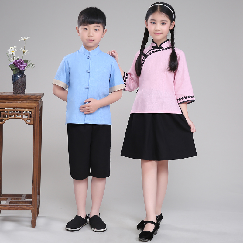 Boy Girl Chinese Traditional Costume Kids Anicent Hanfu Clothing Outfit The Republic of China Tang Clothing for Stage Show 89