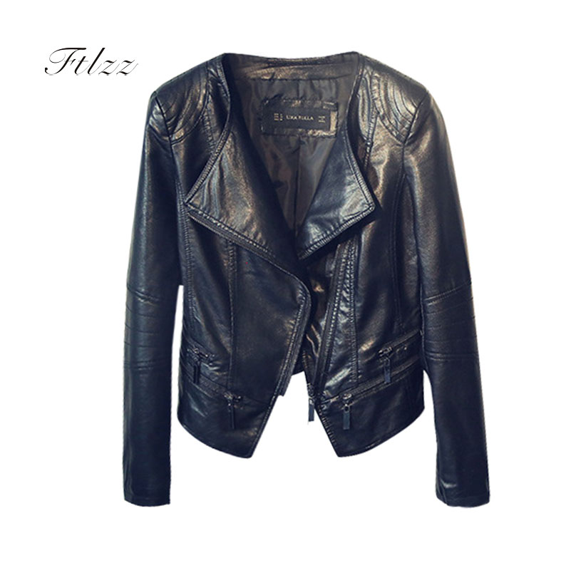 Ladies   Leather   Jackets 2018 New Spring Autumn Slim Long Sleeved Turn-down Collar Black Female Biker Motorcycles Short Coats