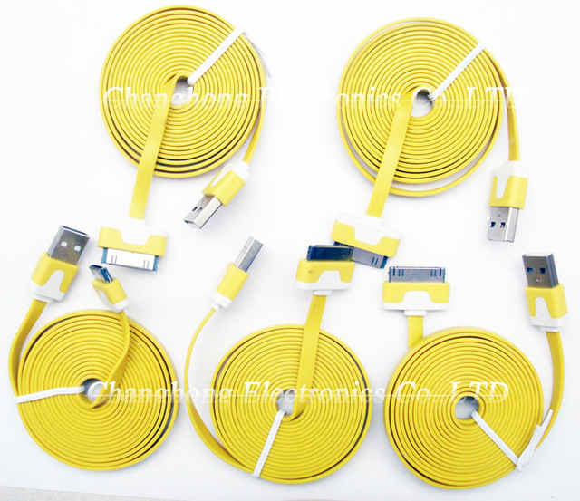 Hot Sell 5pcs/2M Yellow Noodle Style Micro USB Data Sync Charger Cable for Iphone/Ipad/Ipod/Apple Iphone 4/4g/4S/3GS/IPAD 2/3/4