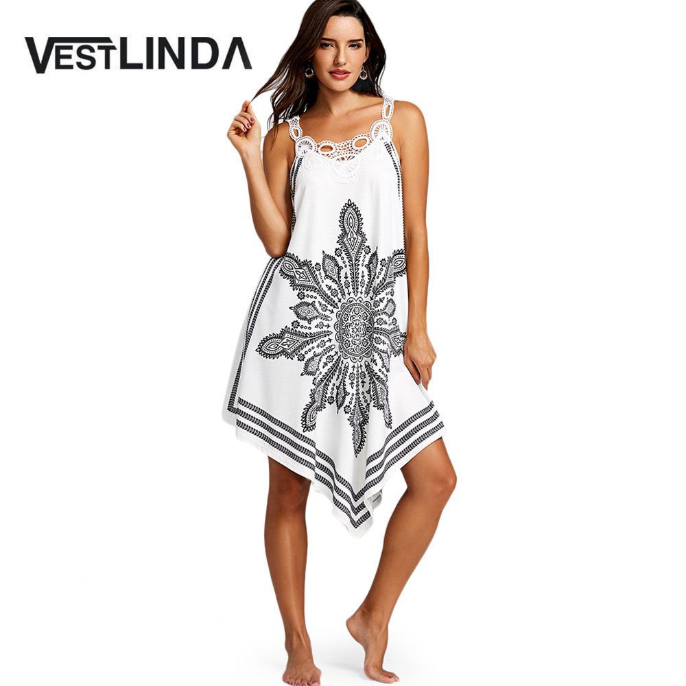 VESTLINDA Cutwork Trim Tribal Print Flowy Dress Women New Summer Causal  Scoop Neck Sleeveless Lace A Line Dress Vestido De Festa-in Dresses from  Women s ... b07352556dd2