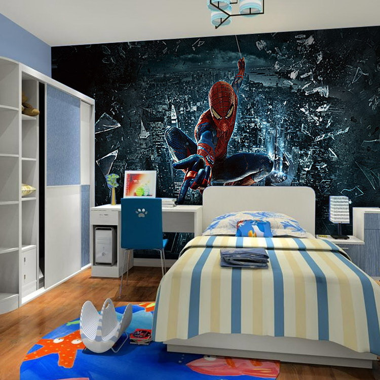 Free shipping 3d wallpaper bedroom living room tv background wallpaper spiderman theme in wall stickers from home garden on aliexpress com alibaba group