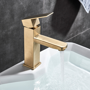 Image 3 - Brushed Gold Basin Sink Faucet Single Lever Square Hot Cold Water Tap Deck Mounted Bathroom Vessel Sink Mixers One Hole