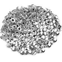 100 шт DIY Полые гвозди шляпа Заклепки 6 мм серебро
