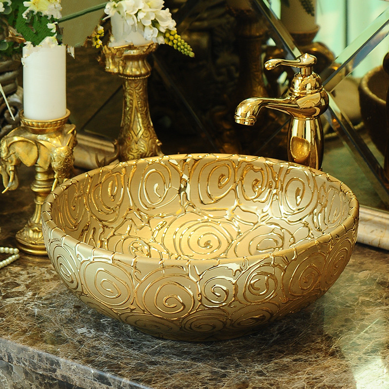Luxurious Rose Embossed Golden porcelain bathroom vanity bathroom sink bowl countertop Round Ceramic bathroom sink wash basin