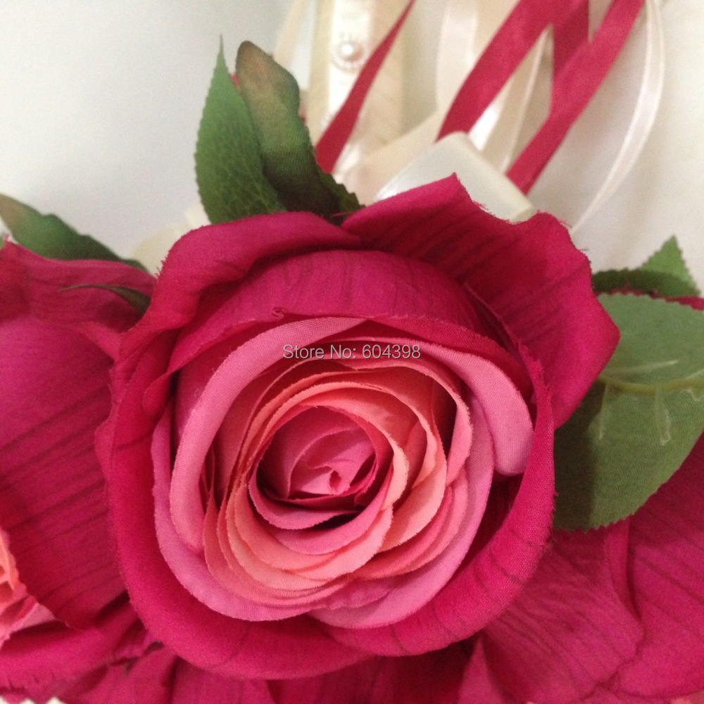 Free Shipping Rose Bridal Bouquet Hot Pink Red Wedding Bouquet Silk