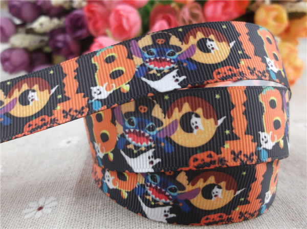 US $1 67 35% OFF|new arrival 7/8'' 22mm halloween printed grosgrain ribbon  halloween ribbon celebrate it ribbon 5 yards-in Ribbons from Home & Garden