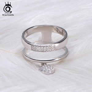 Image 2 - ORSA JEWELS 100% Genuine 925 Sterling Silver Women Rings AAA Shiny Cubic Zircon Pave Setting Female Party Jewelry SR54