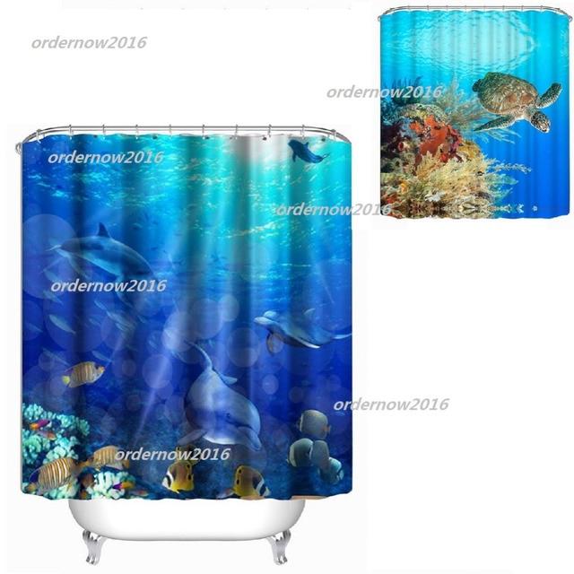 1.8 M Modern Waterproof Shower 3D Underwater World Shower Curtain Bathroom  Curtain Fish Curtains For Bath