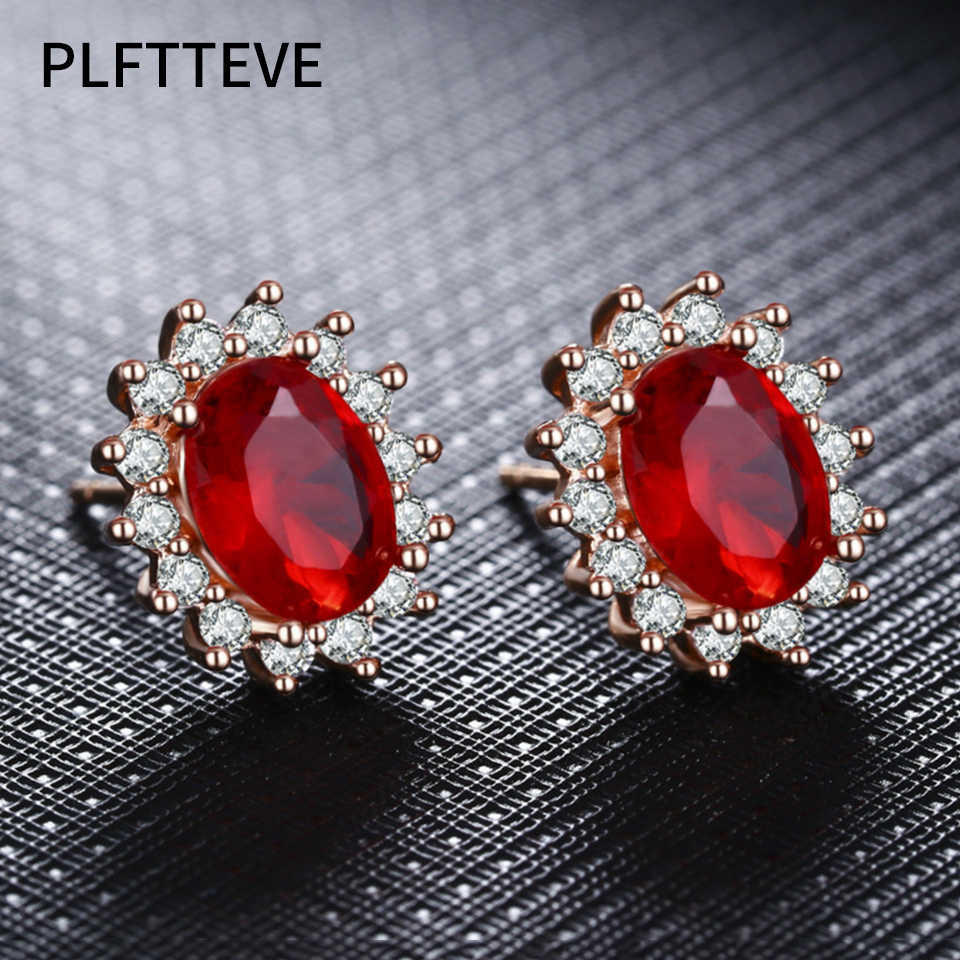 Zircon Red Blue Stone Stud Earrings For Women Girls Rose Gold Silver Color Small Female Earring Fashion Ear Jewelry Brincos 2019