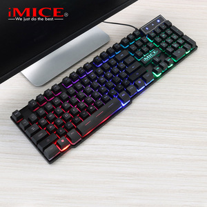 Image 3 - iMice Gaming Keyboard Imitation Mechanical Keyboard with Backlight Wired USB Game keyboards for DOTA CS with RU Stickers