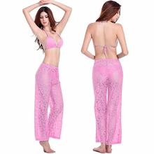 Hot Sales Sexy Womens Beach Wear 2017 Leisure Loose Style Adjustable Waist - Tie Floral Long Lace Pant
