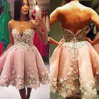 Pink Sweetheart Homecoming Dresses Junior Short Graduation Dresses Tulle Flowers Appliques Mini Length Mezuniyet Elbiseleri 2019