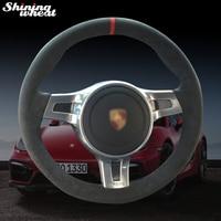 Shining wheat Black Alcantara Car Steering Wheel Cover for Porsche Cayenne Panamera 2012 2013 2014