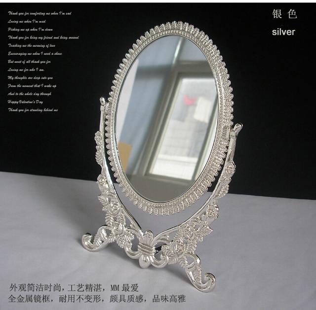 Superieur Silver Alloy Metal Table Mirror Makeup Dresser Desktop Cosmetic Decorative  Mirror Embossed Frameespelho De Maquiagem 2191A