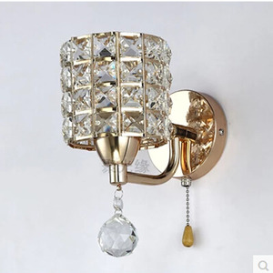 Image 4 - Sconce lamp AC85 265V pull chain switch crystal wall lamp lights Modern Stainless Steel Base lighting lamparas de pared