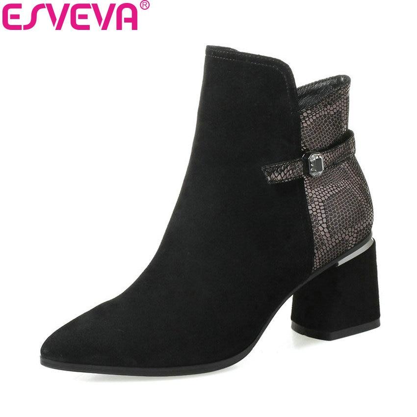 ESVEVA 2019 Ankle Boots Women Fashion Autumn Shoes Zipper Square High Heels Shoes Patchwork Pointed Toe Woman Shoes Size 34-42