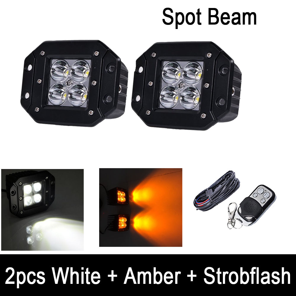 2pcs/Set White Amber Strobeflash LED Work Light Bar Flush Mount Pods Offroad Spot Flood Beam White/Green, White/Blue, White/Red