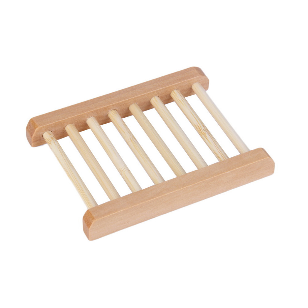 Bathroom Natural Wood Soap Dish Tray Holder Storage Soap Plate Box  ^P