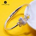 100% Original Siddhi 990 Sterling Silver Bangle Glaze Butterfly Flower Love Jewelry Female Cuff Opening Bracelet for Women