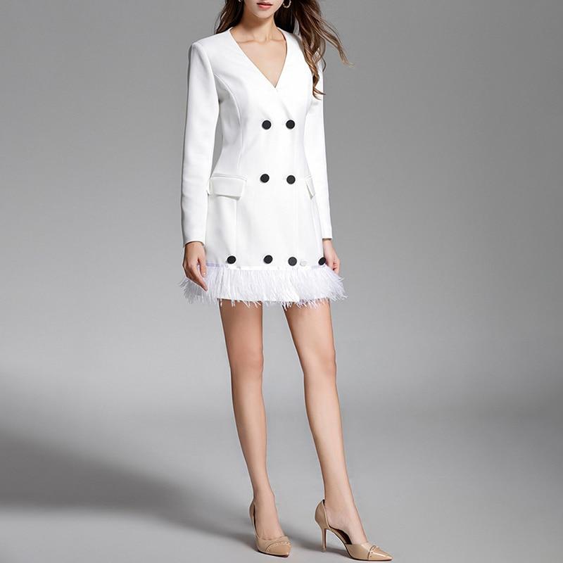 Ol V Manches Longues Mince Mini Col Twotwinstyle Femmes White Patchwork À Féminine Blazer Robes Élégant Plume 2018 Dress Brested Double Robe xBeoWCrd