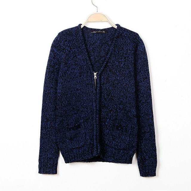 WST342# Women Colored Wool Navy Blue Knitwear Cardigan Sweaters ...