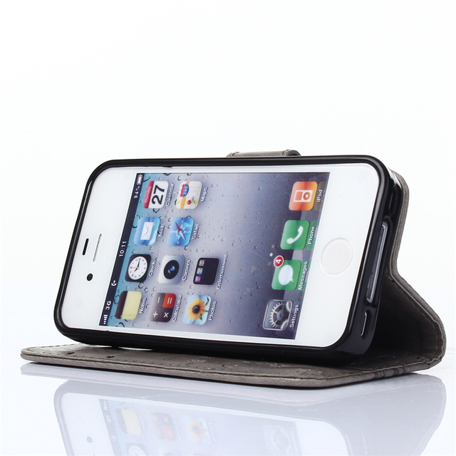 Apple Iphone 5c 4 4s 5 5s se 6 6s 7 S Leather + Silicon Wallet Cover phone Case