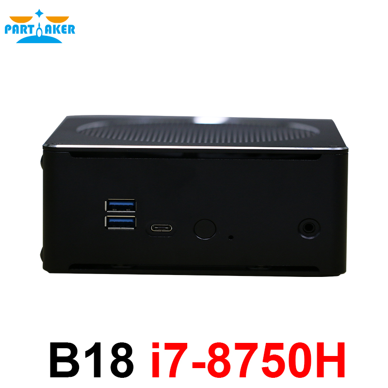 Partícipe B18 DDR4 café lago 8th Gen Mini PC Intel Core i7 8750 H 32 GB RAM Intel UHD gráficos 630 Mini DP HDMI WiFi
