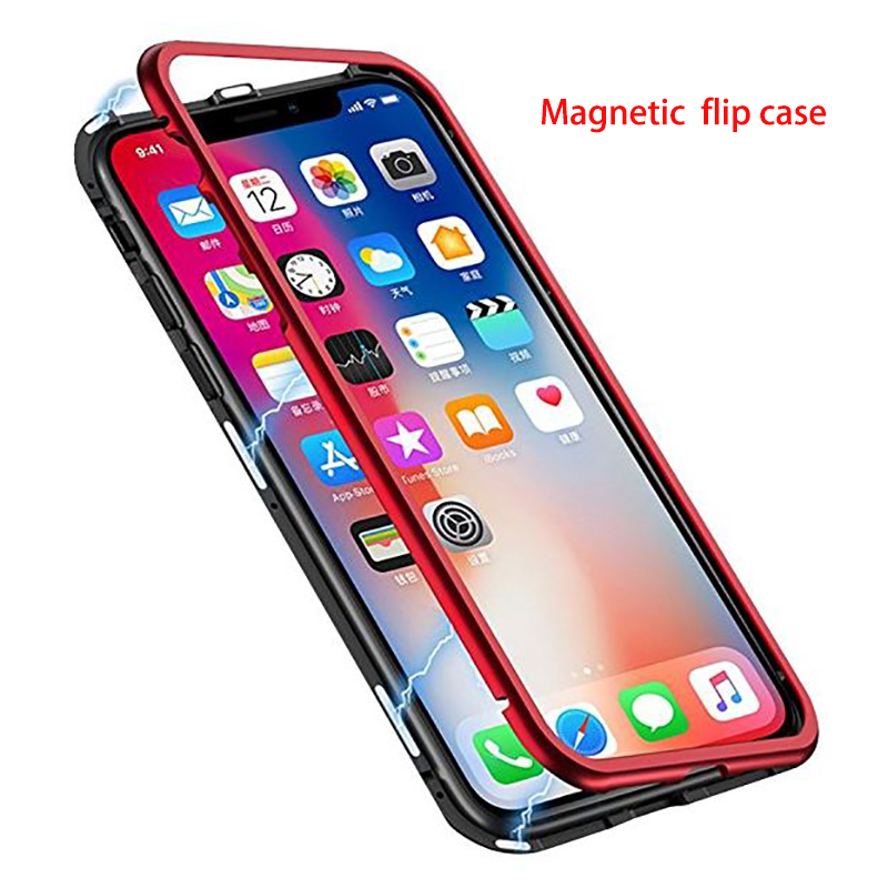 Built-in Magnet Case For iphone x 8 8 plus 7 7plus 6 6s plus Tempered Glass Magnetic Adsorption Metal Ultra Cover bumper