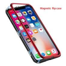 Встроенный Магнитный чехол для iPhone X 8/8 plus 7 7 plus 6 6s plus закаленное стекло Магнитная Адсорбция Металл ультра крышка бампер