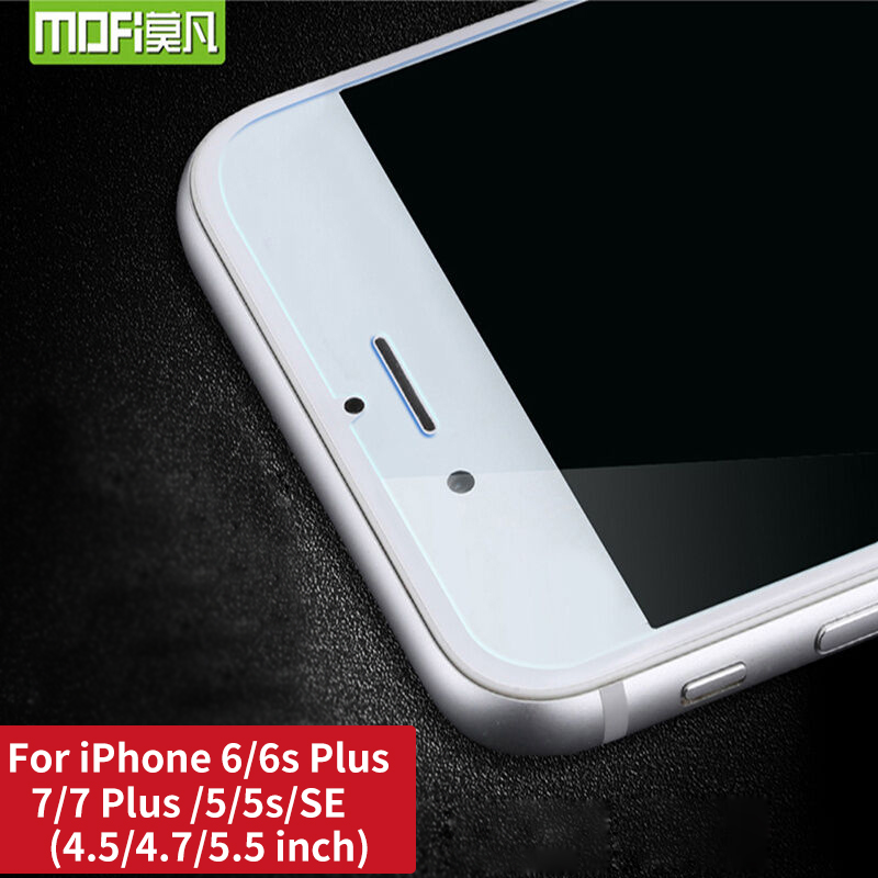 For iPhone 7 Tempered Glass 7 Plus for iPhone 6 6 Plus screen protector mofi for iPhone 5 5S SE For iphone 8 flim 8 Plus cover in Phone Screen Protectors from Cellphones Telecommunications